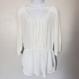 Maurices White 3/4 Sleeve Blouse Drop Waist Flowy
